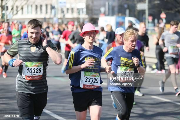 Contestants participate in the 38th Berlin Half Marathon in Berlin, Germany on April 08, 2018.