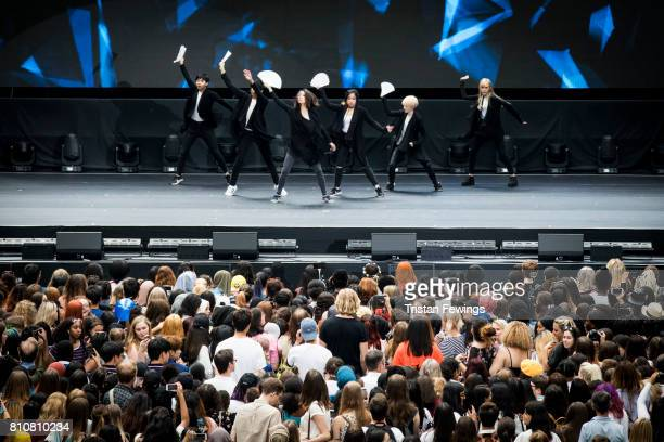 Contestants participate live on stage in the UK Preliminary of the KPop World Festival contest during the London Korean Festival 2017 at Olympia...