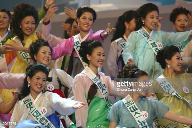 Contestants perform during the 2003 Miss Korea beauty pageant May 21 2003 in Seoul South Korea Choi YunYong a 20yearold university student beat 55...