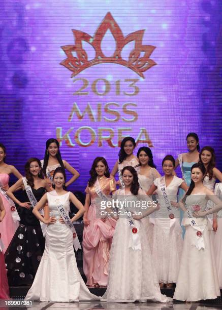 Contestants perform onstage during the 2013 Miss Korea Beauty Pageant at Sejong Center on June 4 2013 in Seoul South Korea