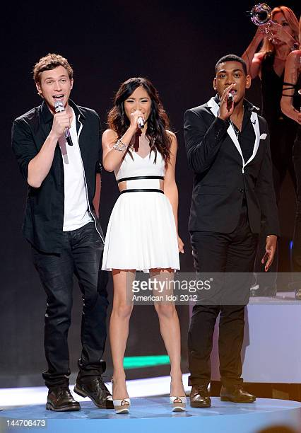 Contestants Phillip Phillips, Jessica Sanchez and Joshua Ledet perform onstage at FOX's American Idol Season 11 Top 3 To 2 Live Elimination Show on...