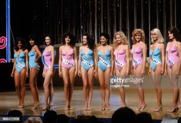 Contestants pose during Miss Universe on July 9 1984 in Miami