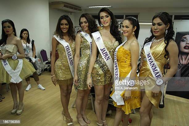 Contestants posing for a picture backstage befor the transvestite and transgender beauty pageant Miss International Queen 2013 at Tiffany's Show...