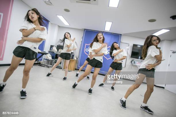 Contestants practice dance moves during the production of the 'Idol School' reality television show by CJ EM Corpat the Yangpyeong English School in...