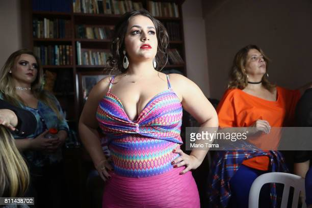 Contestants prepare to compete during the Miss Plus Size Carioca beauty pageant on July 8 2017 in Rio de Janeiro Brazil 24 contestants aged 1845...