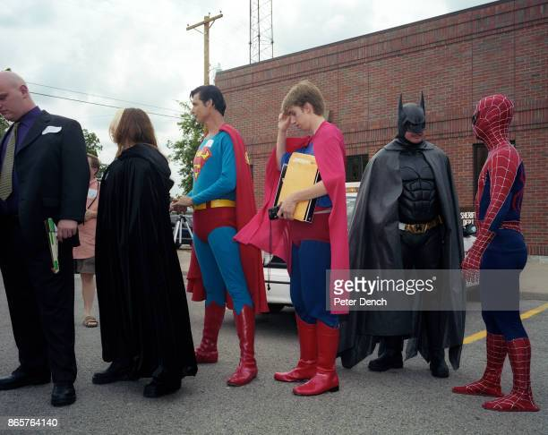Contestants queue for a best superhero costume competition at The Superman Celebration, an annual four-day festival sponsored by The Metropolis...