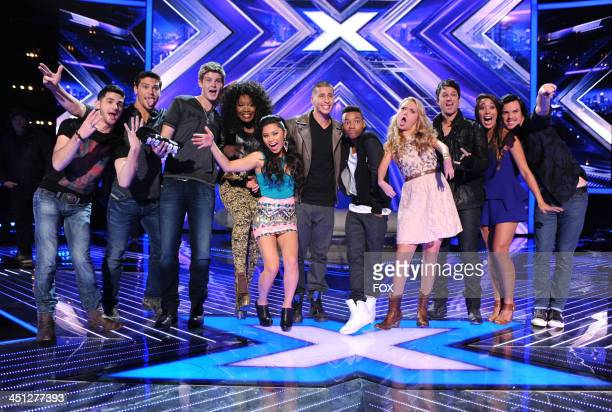 "Contestants Restless Road, Lillie McCloud, Ellona Santiago, Carlito Olivero, Josh Levi, Rion Paige, Jeff Gutt, and Alex & Sierra on FOX's ""The X..."