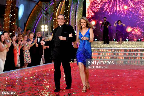 Contestants Reverend Richard Coles and Charlotte Hawkins attend the 'Strictly Come Dancing 2017' red carpet launch at The Piazza on August 28, 2017...