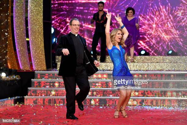 Contestants Reverend Richard Coles and Charlotte Hawkins attend the 'Strictly Come Dancing 2017' red carpet launch at The Piazza on August 28 2017 in...