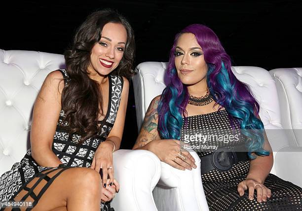 Contestants Rosy McMichael and Lorena LoLo Gallardo attend the 4th Annual NYX FACE Awards at Club Nokia on August 22 2015 in Los Angeles California
