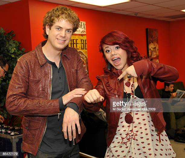 ACCESS*** Contestants Scott MacIntyre and Allison Iraheta are seen backstage at American Idol March 17 2009 in Los Angeles California The top 11...