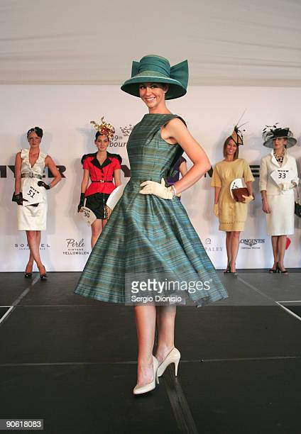 Contestants showcase the latest designs in race wear during the finals of the Myer Fashion on the Field event on Ladies Day as part of the 2009...