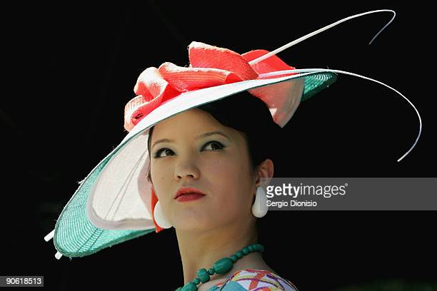 Contestants showcases the latest designs in race wear during the finals of the Myer Fashion on the Field event on Ladies Day as part of the 2009...