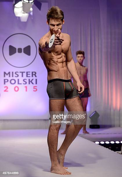 Contestants take part in the finale of the Mister Poland pageant on November 15, 2015 in Warsaw, Poland. The winner Rafal Jonkisz will represent...