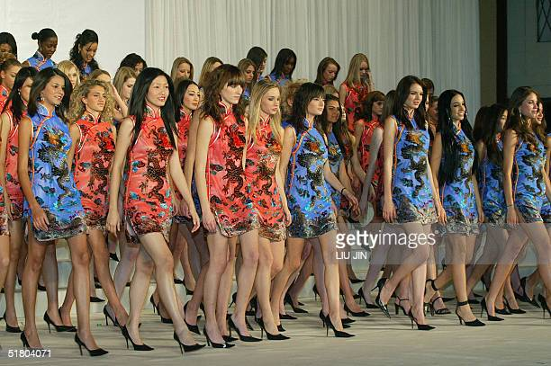 Contestants to the OLAY Elite Model Look 2004 International Finals are introduced during a press conference in Shanghai 30 November 2004 The 80...