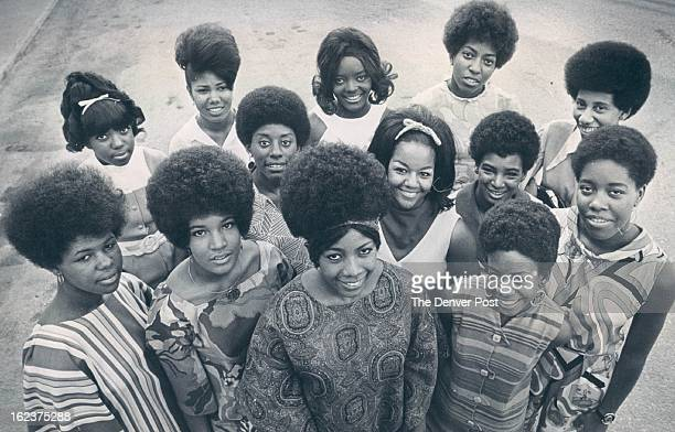 """Contestants Vie Fro Title of """"Miss Black Denver"""" In Pageant Set Friday At Manual High School; From left, front row, are Julia Sistrunk, 18; Kathy..."""