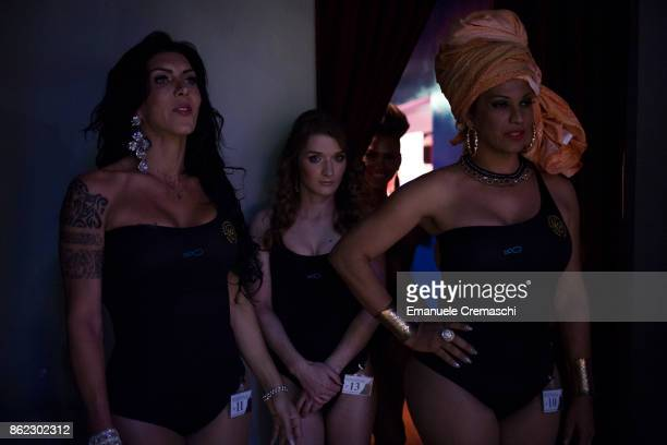 Contestants wait in the backstage of the 25th edition of Miss Trans Italia on October 13 2017 in Corsico in the outskirt of Milan Italy Miss Trans...