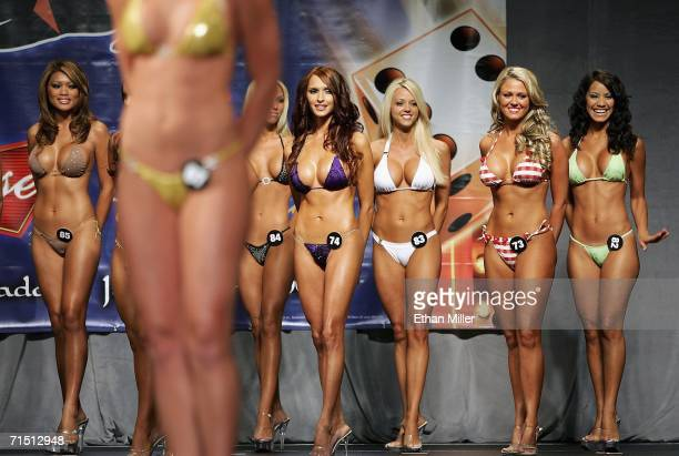 Contestants wait to compete in a preliminary preview of the 10th annual Hooters International Swimsuit Pageant at the Aladdin Casino Resort June 24...