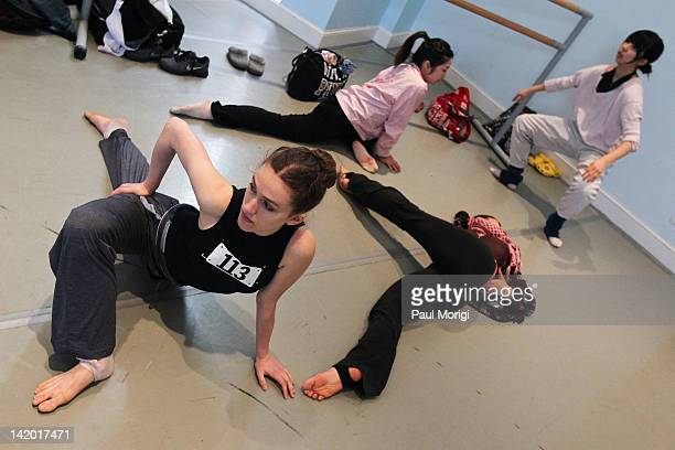 Contestants warmup before the 'A Chance to Dance' auditions at Kirov Academy of Ballet on March 28 2012 in Washington DC