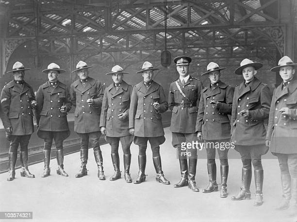 A contigent of Canadian Mounted Police in uniform at Waterloo Station after their arrival to guard the 'Canadian exhibition' at the British Empire...
