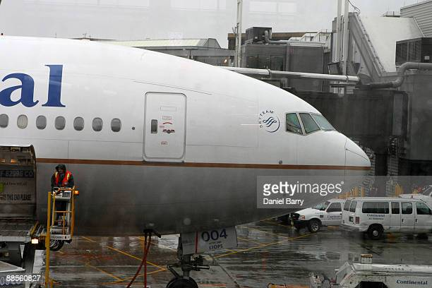 Continental Airlines Flight 61 is seen at Newark Liberty International Airport June 18 2009 in Newark New Jersey The flight landed safely at Newark...