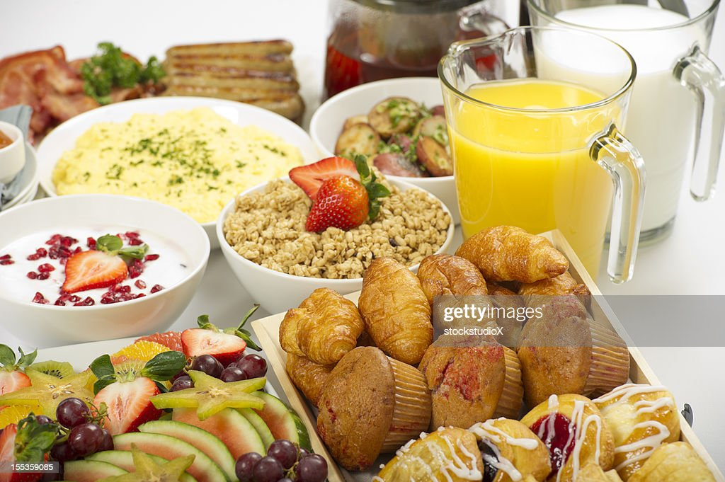 continental breakfast buffet on a table stock photo getty images. Black Bedroom Furniture Sets. Home Design Ideas