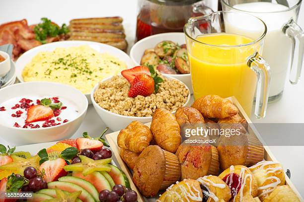 Continental breakfast buffet on a table