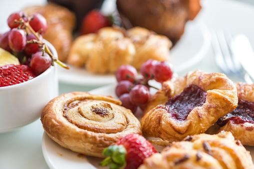 Continental Breakfast - Cinnamon Bun, Danishes, Rolls, Muffins, Fresh Fruit 491699034