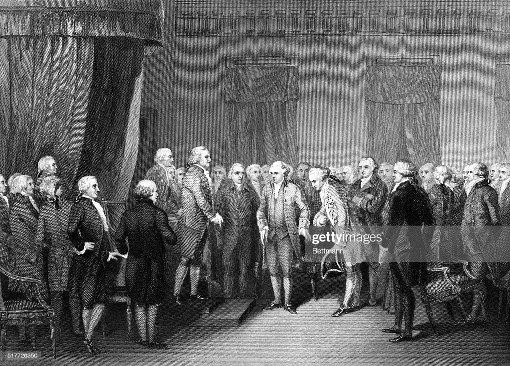 French Minister Alexandre Gerard de Rayneval Being Introduced to the Continental Congress, August 6, 1778 : News Photo