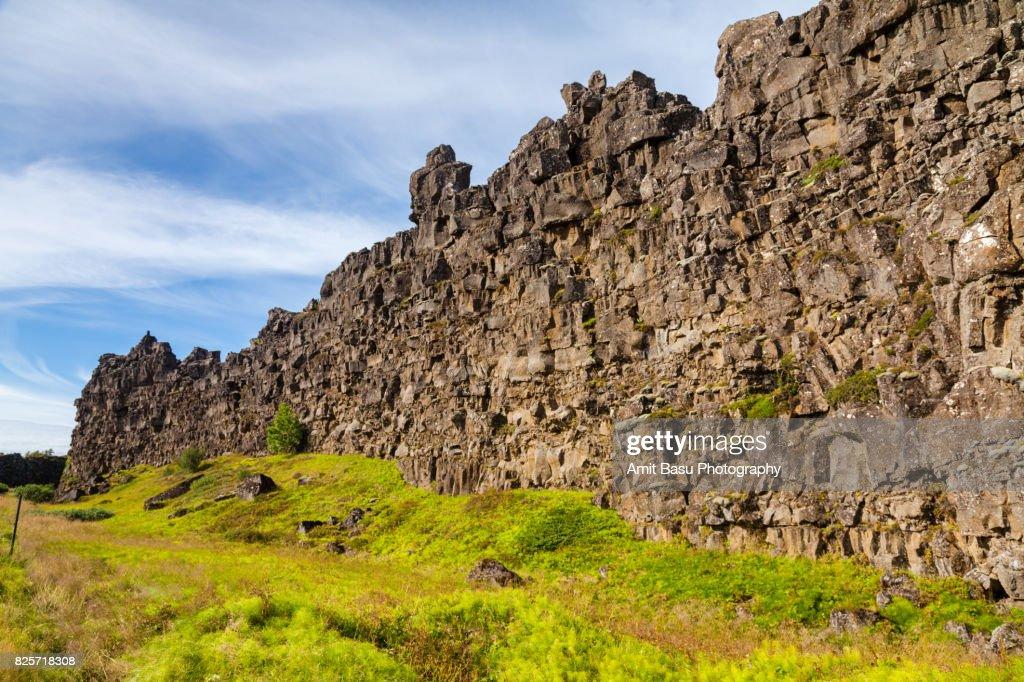 Continental divide at Thingvellir National Park, Iceland : Stock Photo