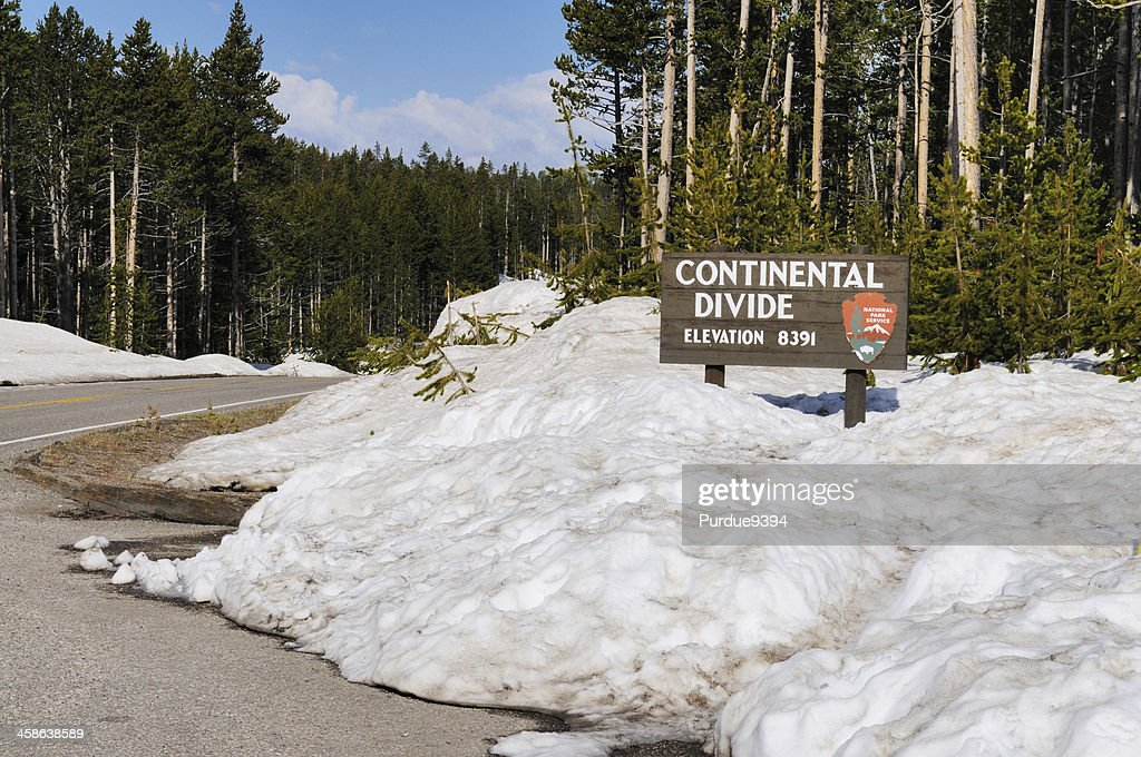Continental Divide Sign in Yellowstone National Park : Stock Photo