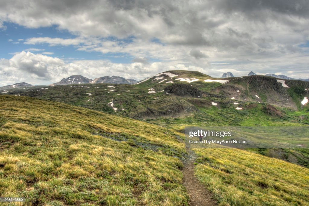 Continental Divide Trail above Timberline with Mountains : Stock Photo