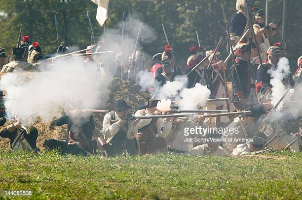 Continental Light Infantry and attached units defend Redoubt No 10 from British counter attack in reenactment of Attack on Redoubts 9 10 where the...