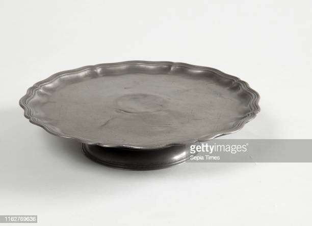 Tazza or Cake Plate Continental 18th century Pewter Overall 2 1/4 x 10 1/4 in