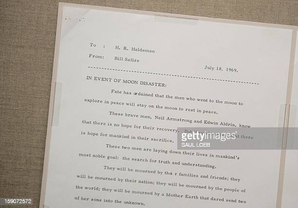 A contingency speech drafted by US President Richard Nixon's speechwriter William Safire in case of disaster during the 1969 Apollo 11 lunar landing...