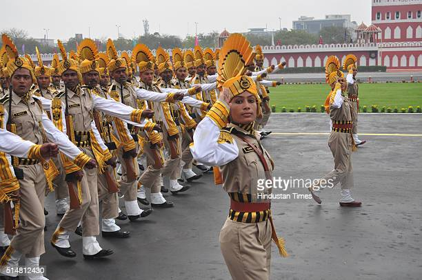 CISF contingent during the 47th Raising Day Parade of the CISF on March 11 2016 in Ghaziabad India The Central Industrial Security Force commemorated...