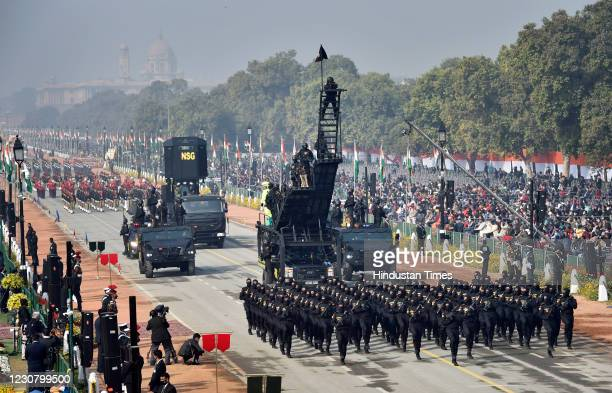 Contingent during the Republic Day parade, at Rajpath, on January 26, 2021 in New Delhi, India. Earlier in the day, PM Modi wished Indians Happy...