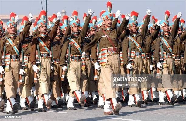Contingent march during the full dress rehearsal for the Republic Day Parade at Rajpath , on January 21, 2007 in New Delhi, India.