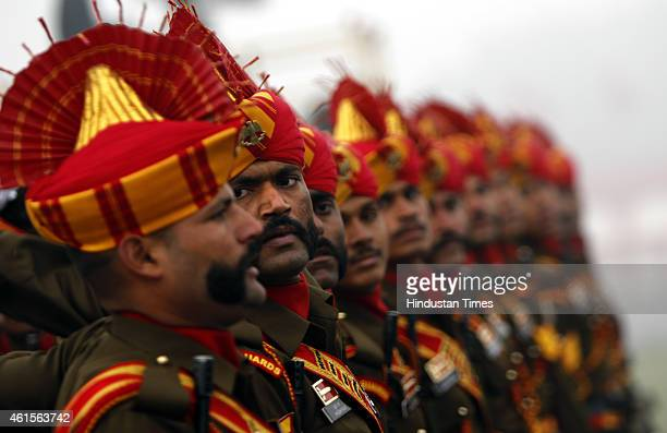 Contingent of Brigade of The Guards Regiment of Indian Army march during the Army Day parade at Delhi Cantt on January 15 2015 in New Delhi India...