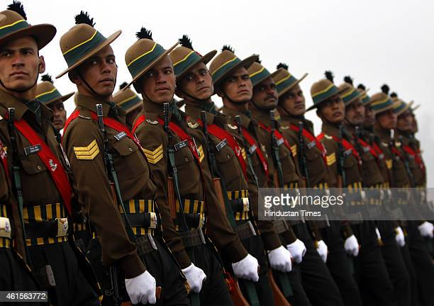 Contingent of Kumaon Regiment of Indian Army march during the Army Day parade at Delhi Cantt on January 15 2015 in New Delhi India Every year Indian...