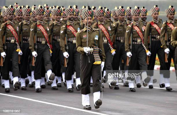 Contingent of Madras regiment of the Indian Army marches during the Army Day Parade at Cariappa Parade Ground on January 15 2019 in New Delhi India...