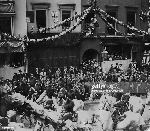 A contingent of Royal Scots Greys in Queen Victoria's Diamond Jubilee procession on Borough High Street London on their return to Buckingham Palace...