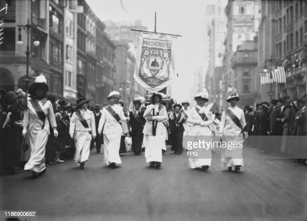 Contingent of suffragettes from Massachusetts marching in the streets of New York City during a parade, US, circa 1915.