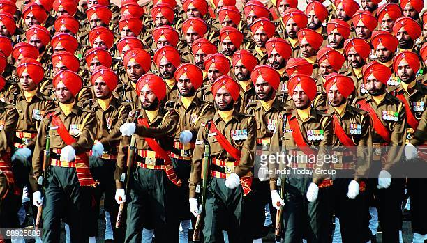A contingent of the Sikh regiment marches during the Republic Day parade at Raj Path in New Delhi on Friday January 26 2007