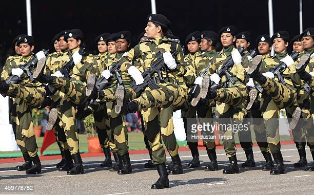 Contingent of Women wing of BSF of Parade on 49th Raising day of BSF at Chawala Camp on December 1 2014 in New Delhi India The force was raised on...