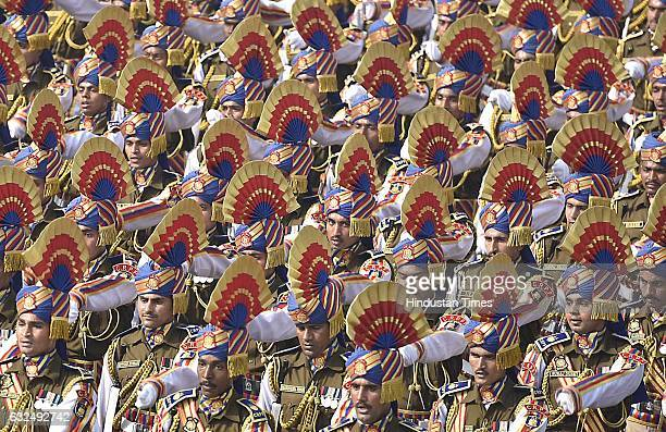 CRPF contingent on camels marches during the full dress resheashal Republic Day parade on Rajpath on January 23 2017 in New Delhi India India will...