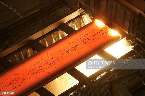 A continious foundry of steel is seen at ArcelorMittal Gent on September 05 2007 in Ghent Belgium Following approval by the Extraordinary General...