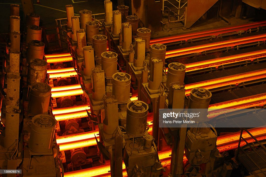 continuous casting plant at steel mill : Stock Photo