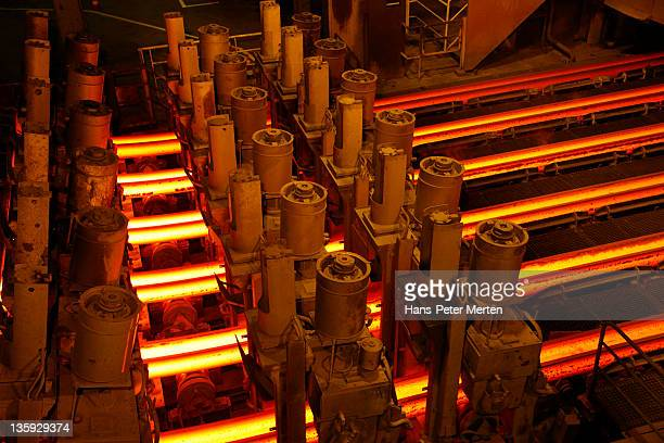 continuous casting plant at steel mill - esch sur alzette stock pictures, royalty-free photos & images