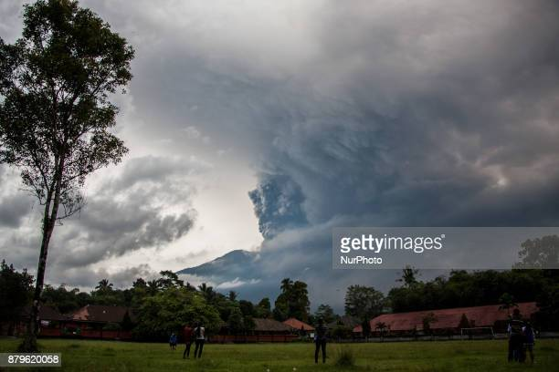 Continuous eruption of volcano Agung with large volumes on November 26 2017 in Karangasem Bali Indonesia Mount Agung belched smoke as high as 1500...